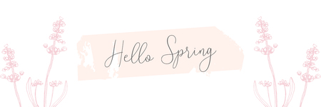 Hand drawn floral vintage pastel pink spring banner background