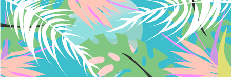 Tropical collage pattern banner in hawaiian style with abstract exotic floral decoration elements. Colorful summer background made in vector 向量圖像