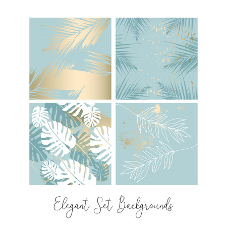 Tropical Worn Floral pastel blue gold pattern for wallpaper, textile, flooring, interior design, wedding invitation, fashion banners. Chic background for your design made in vector Illustration