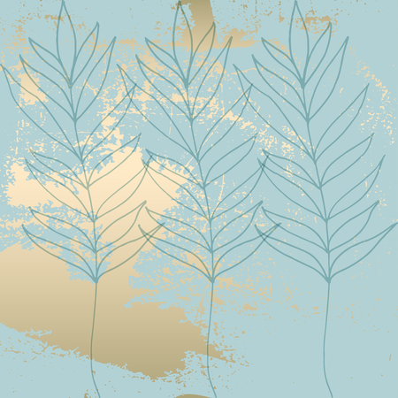 Tropical Worn Floral Pastel Blue Gold Pattern For Wallpaper