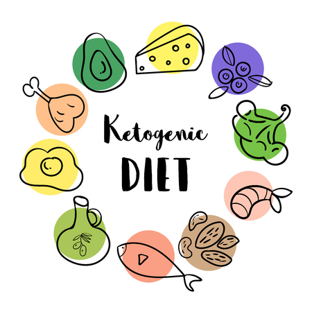 Ketogenic Diet hand drawn doodle icons. Healthy life style concept. Food cartoon style illustrations  イラスト・ベクター素材