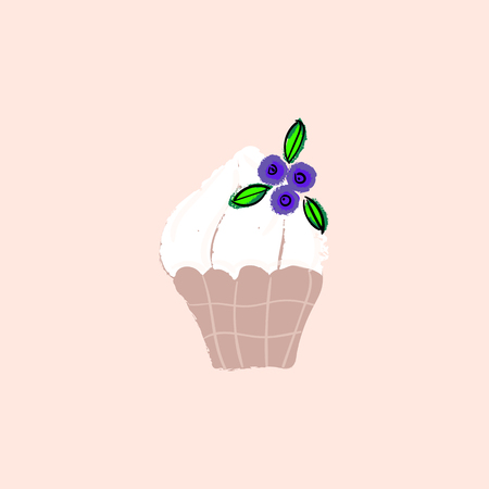 Creamy berry cupcake vector hand drawn cartoon illustration. Bakery or confectionary concept