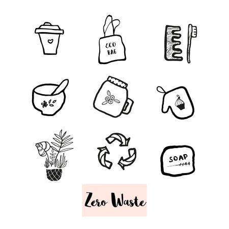 Hand drawn doodle elements of zero waste lifestyle. Eco style illustration set