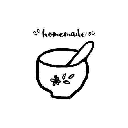 Hand drawn cute illustration of kitchen mortar. 100 ORGANIC cosmetics or skin care woman concept 矢量图像