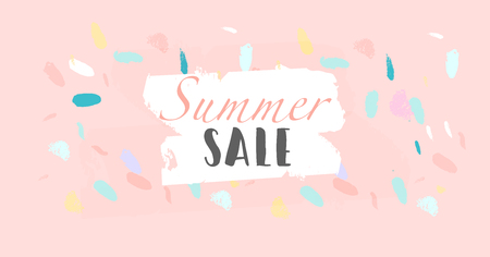 Summer social media banner with abstract hand drawn colorful brush painting confetti background