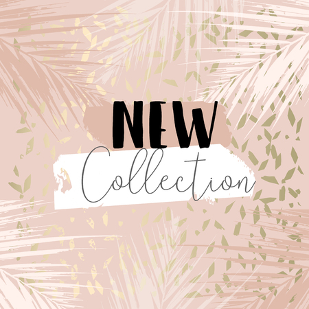 Autumn collection trendy chic gold blush background for social media, advertising, banner, invitation card, wedding, fashion header Ilustração