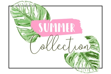 Tropical hand painted palm leaves summer background for advertising, invitations, social media, fashion, web, brochures, posters, headers etc Vector Illustratie
