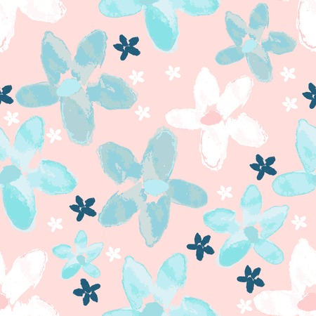 floral seamless pattern with hand drawn watercolor flowers and line art style flowers