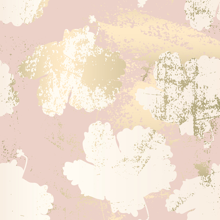 Chic blush pink gold trendy marble grunge texture with floral ornament. Elegant background for advertising, interior design, fashion, textile, wedding, etc