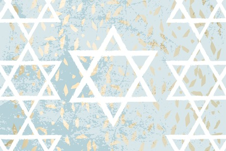 Happy Independence Day of Israel, blue gold marble grunge marble chic background with hand drawn white David star symbol