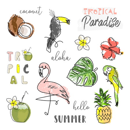 Summer cartoon doodle hand drawn tropical vector elements