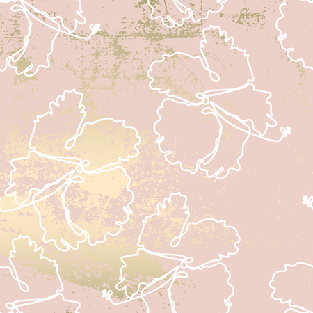 floral line art pattern with hibiscus tropical flowers on blush gold grunge texture. Chic trendy background Illusztráció