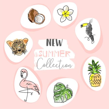 Cute tropical cartoon doodle hand drawn illustration with different Summer trendy prints of wild animals and exotic plants