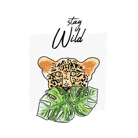 wild feline tropical hand drawn leopard character