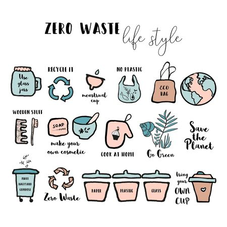 Hand drawn seamless pattern with  doodle elements of zero waste lifestyle.