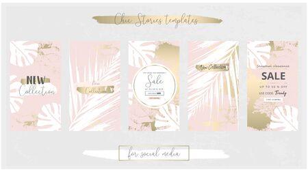 Eleganti modelli di banner Trendy Chic per social media in oro rosa