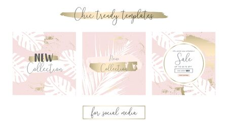Elegant Social Media Trendy Chic Gold Rose banner Templates 스톡 콘텐츠 - 127148570