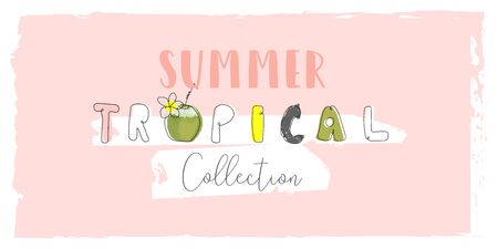 Cute tropical cartoon doodle hand drawn illustration with different Summer trendy prints of wild animals and exotic plants Ilustração