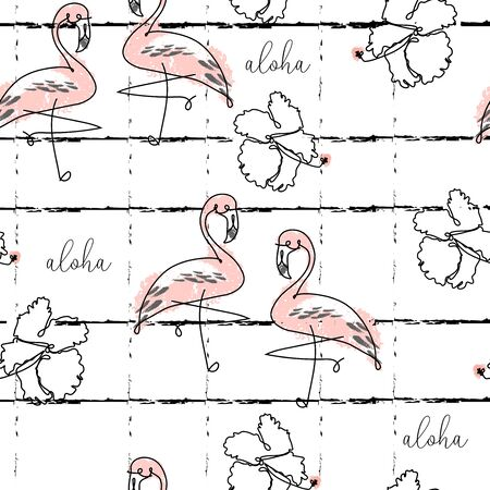 Tropical seamless pattern with cute hand drawn doodle animals, fruits, exotic plants and flowers. Cartoon summer background Ilustração