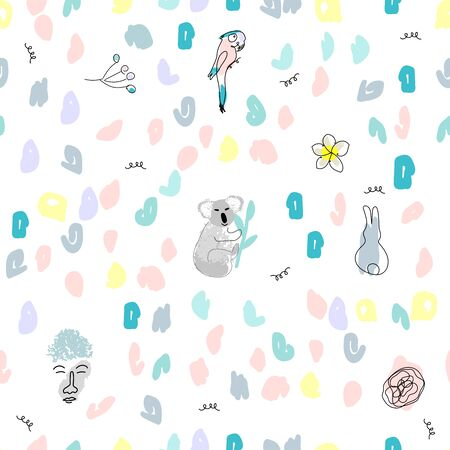 Childish cute seamless pattern with doodle colorful confetti and hand drawn fun characters in cartoon kid style