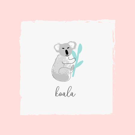 cute cartoon hand drawn childish koala animal illustration