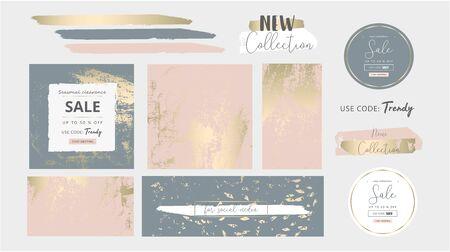 Elegant social media trendy chic gold pink blush banner