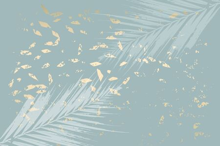 Winter abstract foliage grey blue gold background. Chic trendy print with botanical motifs