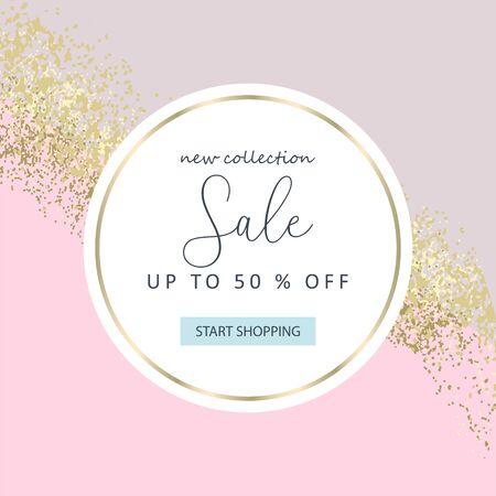 Elegant luxury nude rose pink blush and gold glitter brush stroke background Stock Illustratie
