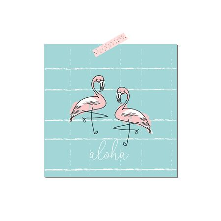tropical hand drawn flamingo birds in cartoon hand drawn style. cute greeting card, party invitation, postcard, birthday, baby shower