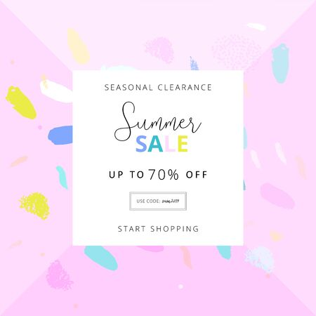 Summer social media banner with abstract hand drawn colorful brush painting confetti background Vektorgrafik