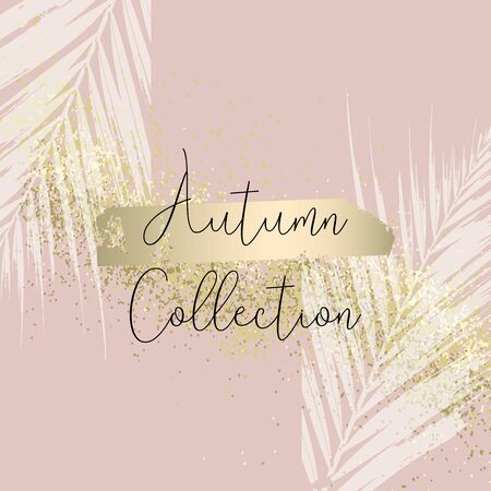 Autumn collection trendy chic gold blush background