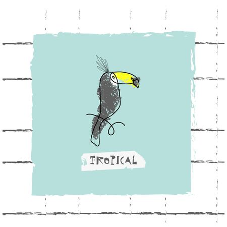Summer cartoon doodle hand drawn tropical vector elements