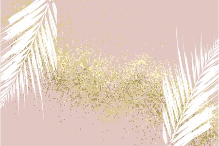 Elegant luxury nude rose pink blush and gold glitter brush stroke background. Chic trendy print with botanical motifs Çizim