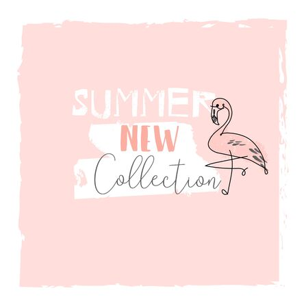 Cute tropical cartoon doodle hand drawn illustration with different Summer trendy prints of wild animals and exotic plants Иллюстрация