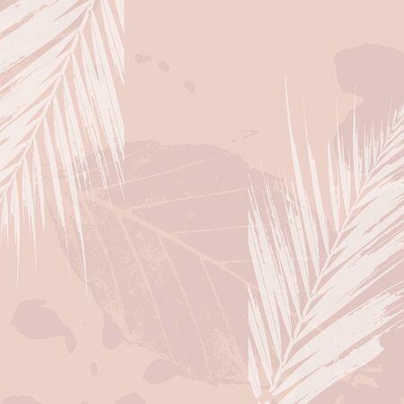 Autumn foliage nude pastel pink blush background. Chic trendy print with botanical motifs