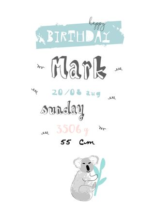 Hand drawn abstract pastel baby shower card with brush confetti Illustration