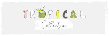 Cute tropical cartoon doodle hand drawn illustration with different Summer trendy prints Ilustrace