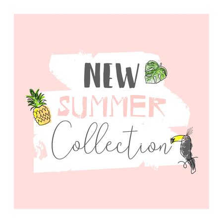 Cute tropical cartoon doodle hand drawn illustration with different Summer trendy prints Ilustracja