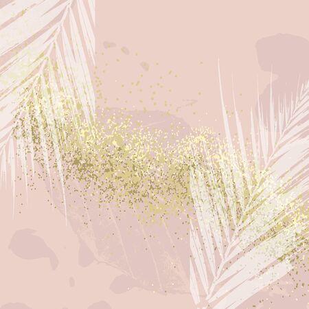 Elegant luxury nude rose pink blush and gold glitter brush stroke background. Chic trendy print with botanical motifs Illustration