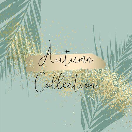 Autumn collection trendy chic gold blush background for social media, advertising, banner, invitation card, wedding, fashion header Ilustração