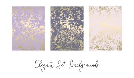 Elegant set of chic trendy abstract marble gold luxury textures. Beautiful backgrounds for advertising, poster, invitations, wallpaper, textile, typography