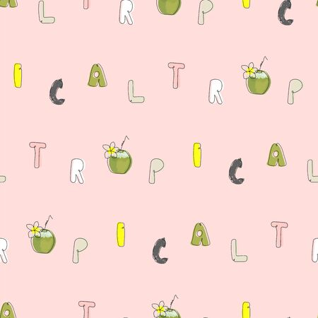 Tropical seamless pattern with cute hand drawn doodle animals 向量圖像