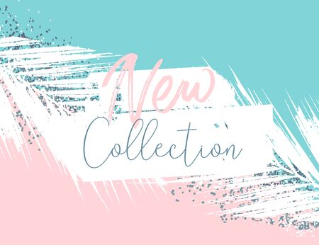 Elegant luxury blue mint pink blush and silver glitter brush stroke background. Chic trendy beauty concept banner 向量圖像