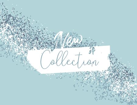 Elegant luxury blue mint pink blush and silver glitter brush stroke background. Chic trendy beauty concept banner Illustration