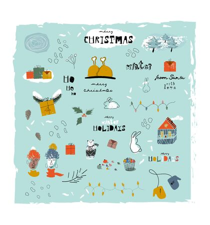 Christmas cute cartoon illustration clipart with different winter holidays symbols, animals and characters. hand drawn textures design concept