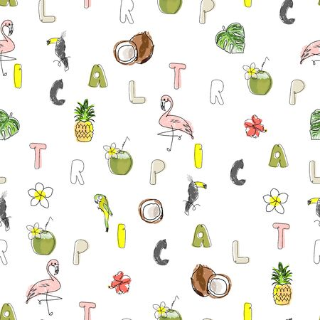 Tropical seamless pattern with cute hand drawn doodle animals, fruits, exotic plants and flowers. Cartoon summer background Foto de archivo - 134876153