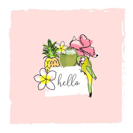 cute tropical set of different stickers with wild birds, exotic fruits, flowers and leaves. Summer cartoon doodle hand
