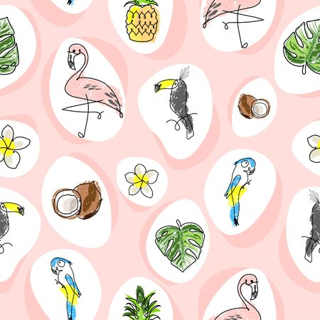 Tropical seamless pattern with cute hand drawn doodle animals, fruits, exotic plants and flowers. Cartoon summer background Illusztráció