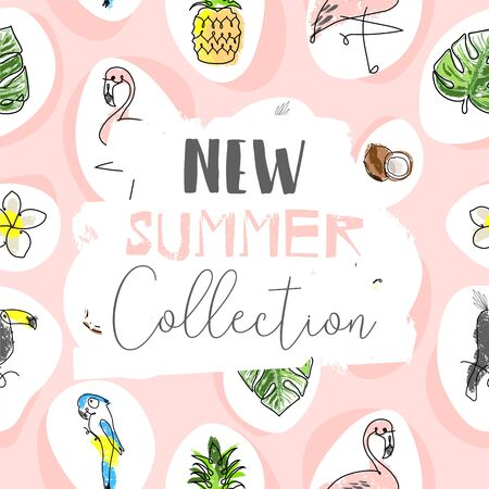 Cute tropical cartoon doodle hand drawn illustration with different Summer trendy prints of wild animals and exotic plants Illusztráció