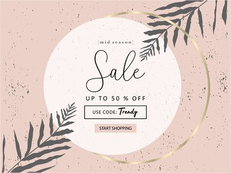 Social media banner template for advertising arrivals collection or seasonal sales promotion. trendy hand drawn botanical elements and gold chic detail 向量圖像